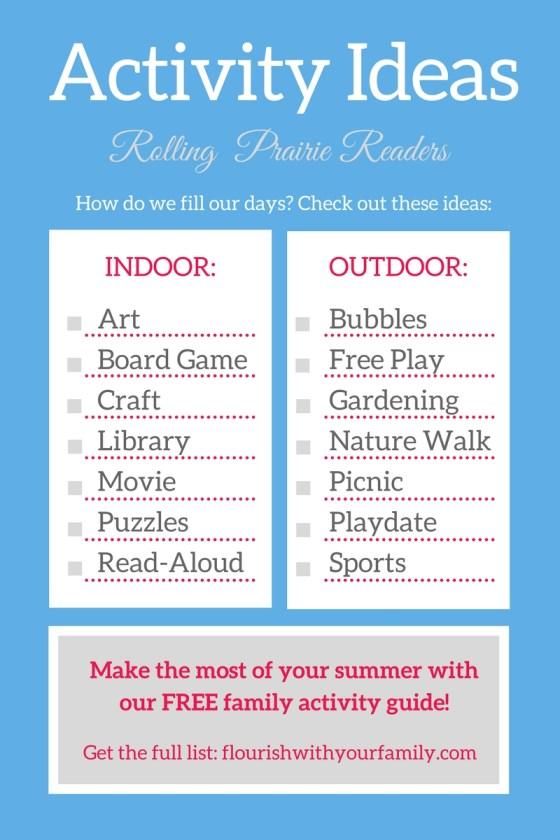 Summer Activity Ideas for Kids | family time, summer schedule, summer bucket list, indoor activities, outdoor activities
