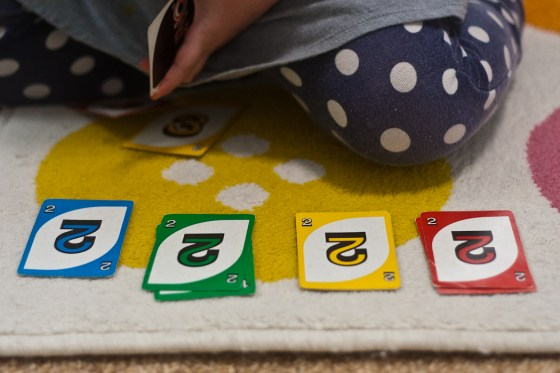 UNO has so many learning through play opportunities! | child development, learning through play, preschool math, toddler math, educational toys, preschool toys