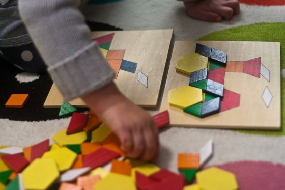 Pattern blocks are a great toy that grows from toddlerhood to elementary school!   child development, learning through play, preschool math, toddler math, educational toys, preschool toys