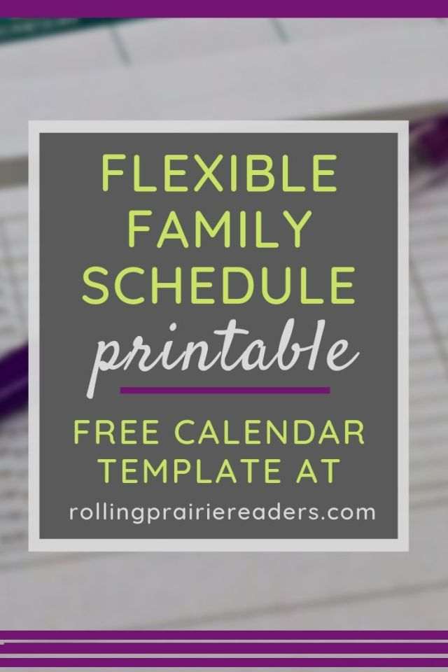 family schedule printable | free calendar template