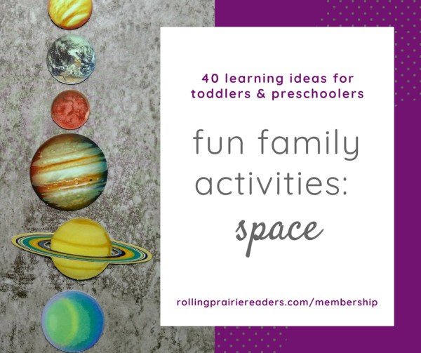 picture of planets with text box: fun family activities | space