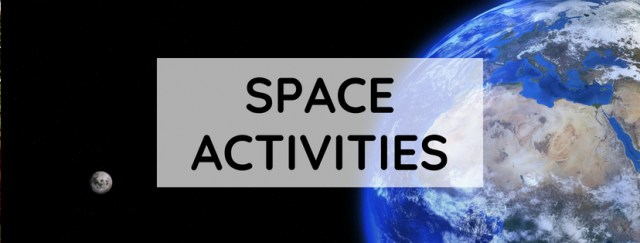"Picture of Earth and moon with text overlay: ""Space Activities"""