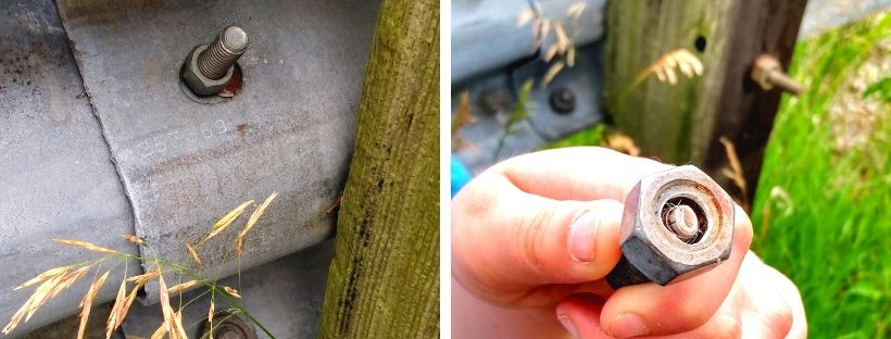 Two pictures of a geocache hidden in a screw.