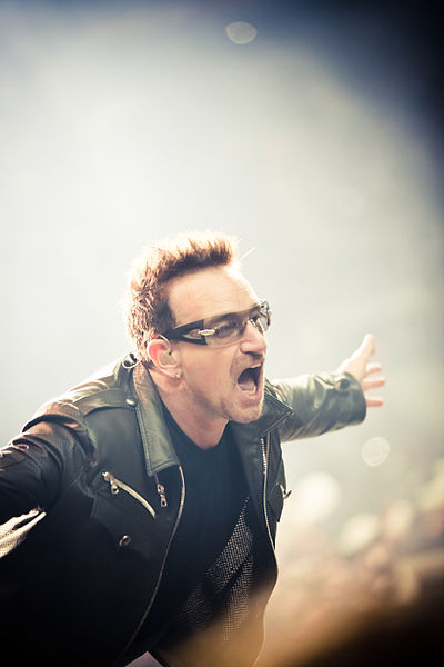 Bono Performs on the U2 360 Tour. Photo: Peter Neill - Flickr: u2-1 CC BY License