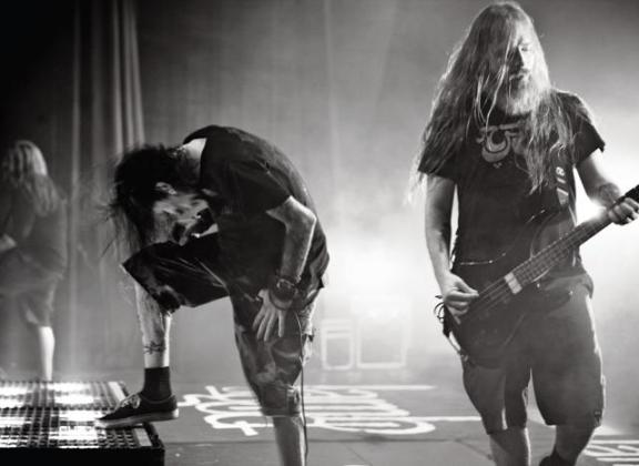 (left) Lamb Of God vocalist Randy Blythe with bassist John Campbell (right). Photo: Travis Shinn