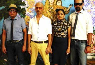 (far right) Virendra Kaith played drums for jazz duo Sridhar/Thayil, 2012.