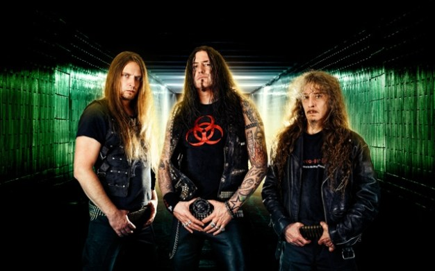 Destruction - (from left) Wawrzyniec Dramowicz, Marcel Schirmer and Mike Sifringer. Photo: Courtesy of Nuclear Blast