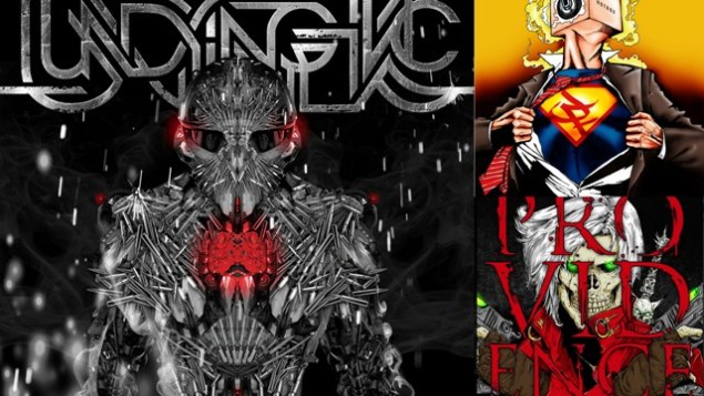 "(from left) Visual Amnesia's work for Undying Inc's 2014 EP 'Ironclad', Joint Family's debut album 'Hotbox' and Providence's new single ""Dante"". Artwork: Visual Amnesia"