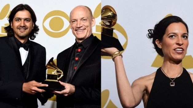 (from left) Ricky Kej with Wouter Kellerman and Neela Vaswani with their Grammy awards. Photo: Frazer Harrison/Getty Images (Kej); Frederick J Brown/Getty Images (Vaswani)