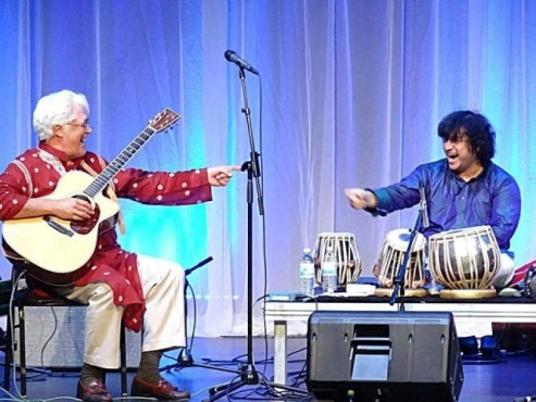 (left) Jazz guitarist Larry Coryell with Aditya Kalyanpur Photo: Courtesy of the artist