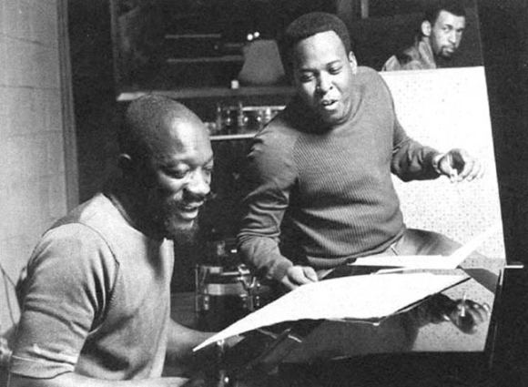 Isaac Hayes and David Porter in the studio.