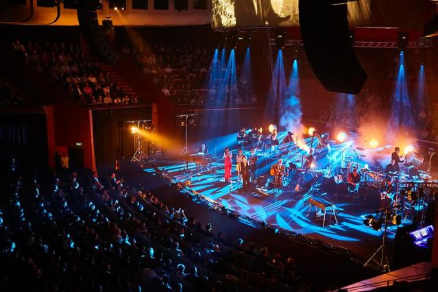 Above and Beyond with their 18-member orchestra at Sydney Opera House. Photo: Dean Hammer/Courtesy of the artist