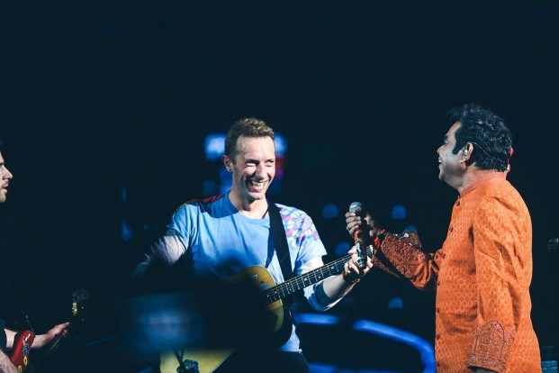 "Coldplay joined A. R. Rahman for a touching acoustic rendition of India's national song ""Vande Mataram."" Photo: Courtesy of Global Citizen India"