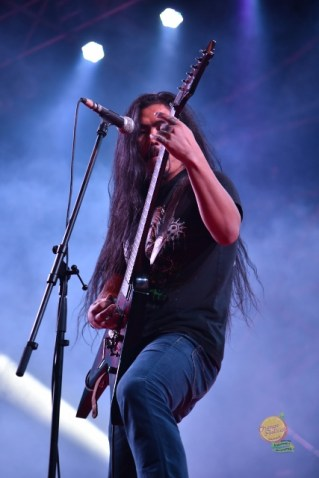 Death metallers Sacred Secrecy's frontman Tana Doni live at Orange Festival of Adventure and Music. Photo: Nabam Tadi