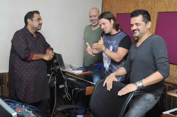Axwell with Bollywood composer trio Shankar-Ehsan-Loy in Mumbai. Photo: Courtesy of the artist