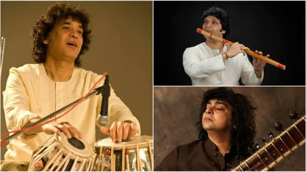 Zakir Hussain, Niladri Kumar and Rakesh Chaurasia paid tribute to celebrated composer Vanraj Bhatia at NCPA Mumbai.