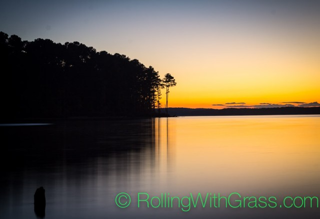 Sunset Water Trees Jordan Lake NC Fall 2014
