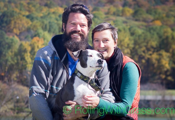 Roger Kate and Dazey at Peaks of Otter Rolling with Grass VA 10-2014