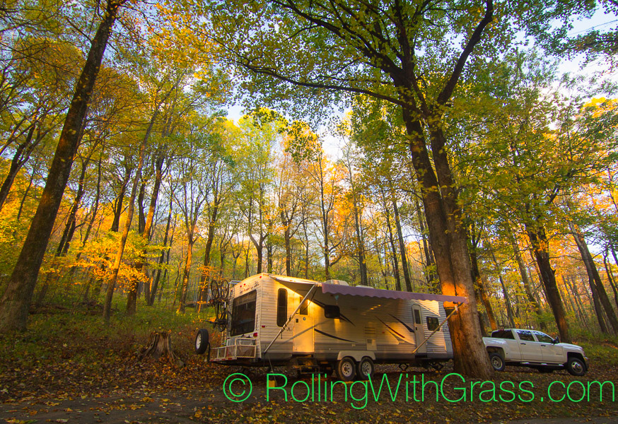 Sunrise RV Campsite in the trees at Peaks of Otter Rolling with Grass VA 10-2014