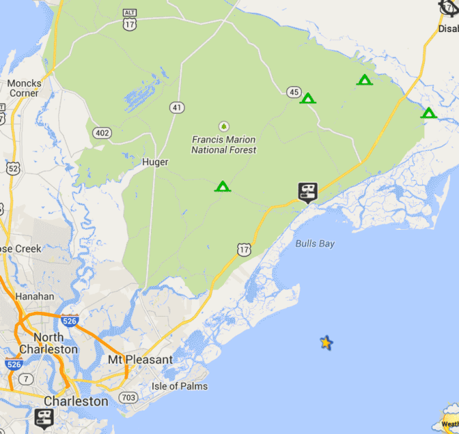 Boondocking sites near charleston south carolina map