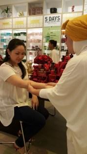 Enjoying a quick pampering hand massage