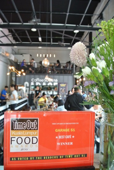 Voted by readers of Time Out KL - Best Cafe Winner 2014