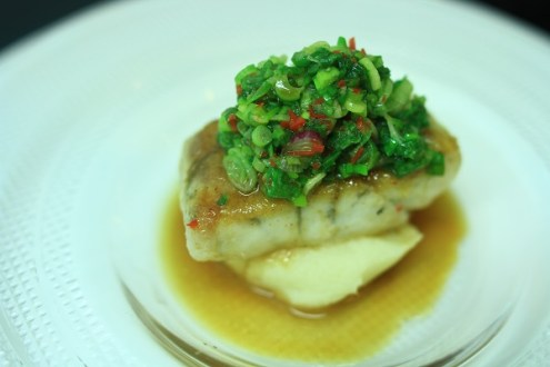 Pan-Fried Sea Bass Spring Onions and Creamy Potatoes