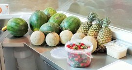 Fresh fruits are brought in daily