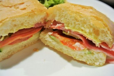 Up Close Chicken Ham Sandwich - Iggo Cafe