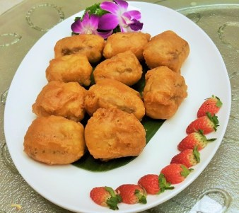 Deep Fried 'Nian Gao' with Banana Cream - Zuan Yuan