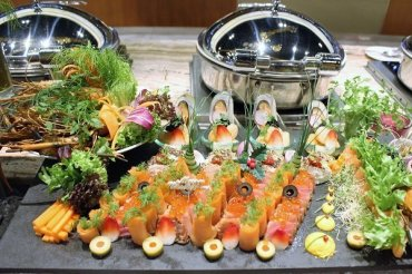 Beautifully crafted starters of salmons and salads.