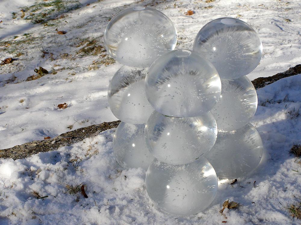 frozen water balloon sculpture roll your bones