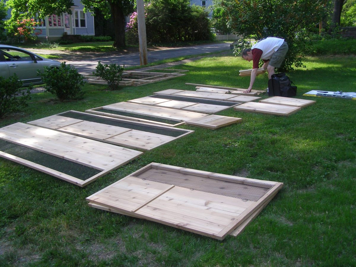 Parts laid out 8'x12′ Just-Add-Lumber Vegetable Garden Kit – Deer Proof