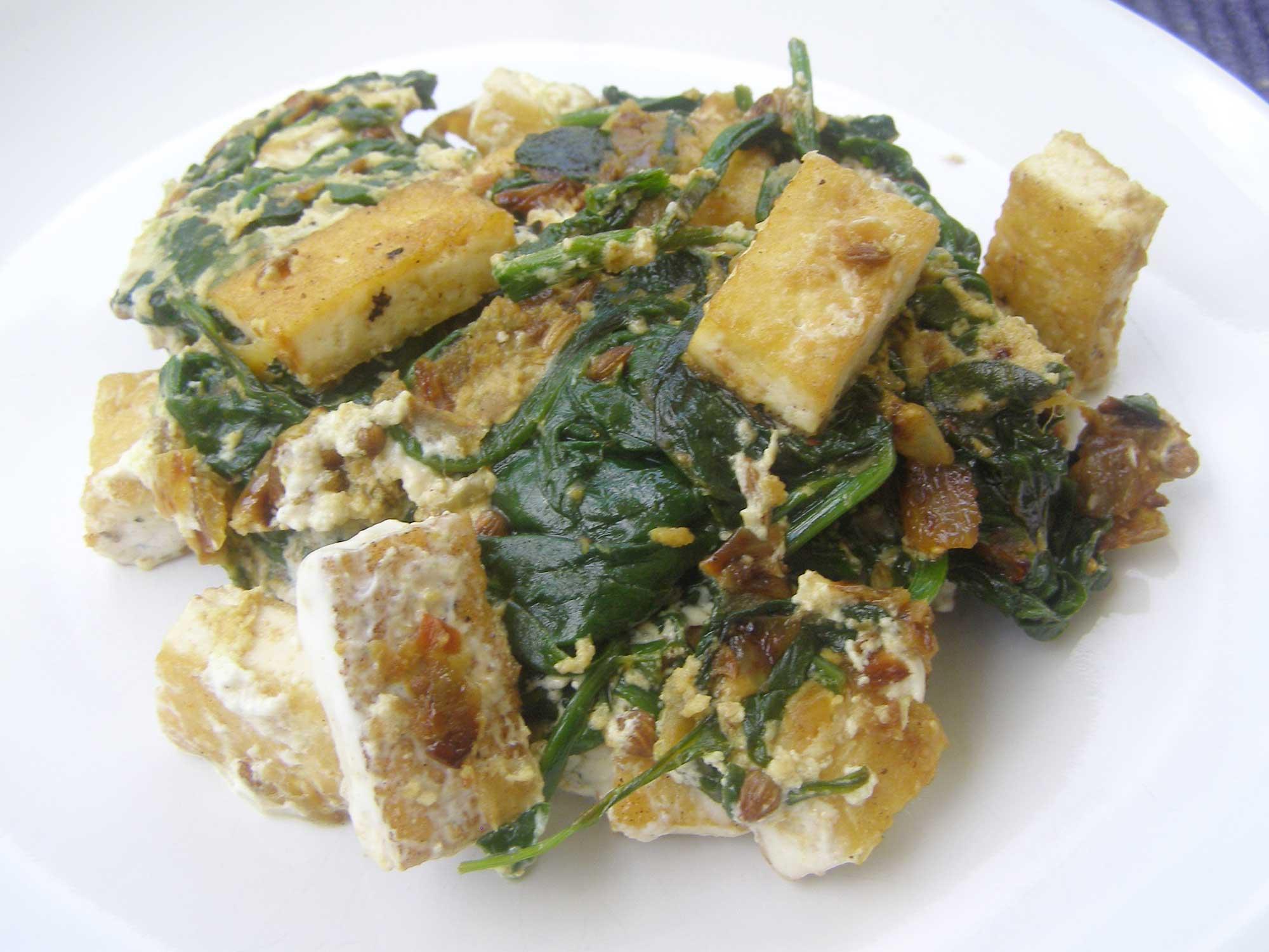 Tofu Saag Paneer For One