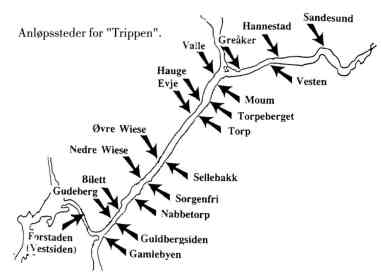"""""""Trippen"""" var meget publikumsvennlig og hadde hele 20 anløpssteder på ruten Fredrikstad – Sandesund. Å balansere om bord på en landgang fra en flytebrygge kunne by på problemer. """"Tripp"""" fraktet ikke bare passasjerer, men også post og varer. """"Trafikk""""-båtene førte kun varer."""