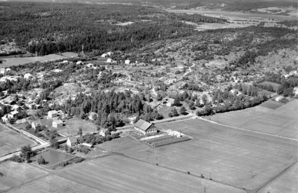 Flyfoto over Rådalen og Vallefjellet med Isdammen og Ombergs gartneri i forgrunn