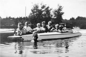 Padling på Isdammen. 1930-tall