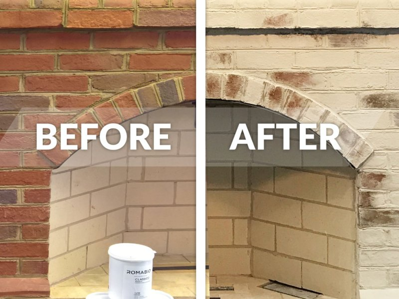 Brick Fireplace With Limewash Paint, White Wash Brick Fireplace Before And After