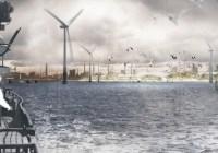 Impressie 'windeilanden' (2020) uit de Ontwerpstudie Rotterdam. Beeld Landschap en Energie, ontwerpen voor transitie, H+N+S Landschapsarchitecten