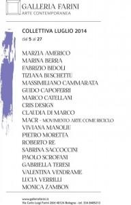PRESENTAZIONE MOSTRA COLLETTIVA                                       GALLERIA FARINI 5 LUGLIO 2014                                                    a cura di Rosetta Savelli