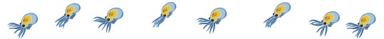 Animation nage larve poulpe