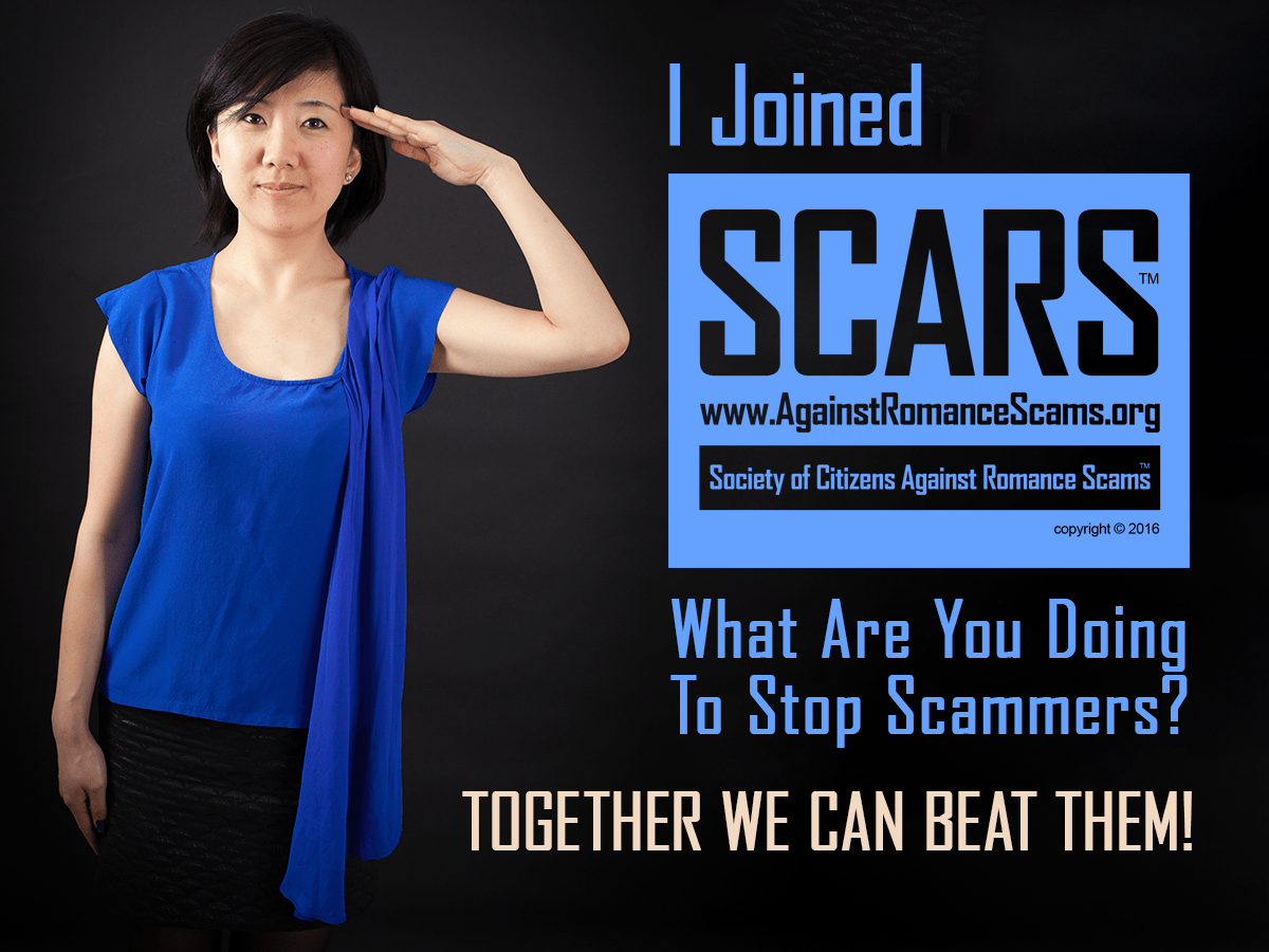 Join SCARS Today! It's Free & Easy To Apply. Just Go To www.AgainstScams.org Together We Can Beat Them! Come join the thousands of SCARS Members today! If you joined SCARS send us your photo saluting? We will not display your name! Send it to contact@AgainstRomanceScams.org #Together #BeatScammers