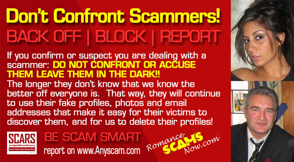 Confronting a dating scammer pictures