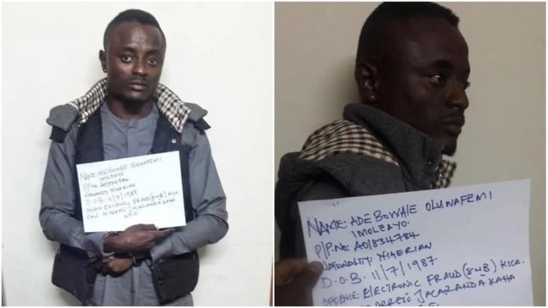 31-year-old, Adebowale Oluwafemi, was arrested alongside two other fraudsters in kenya