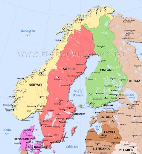 Norway, Sweden, Denmark by FreeWorldMaps.net