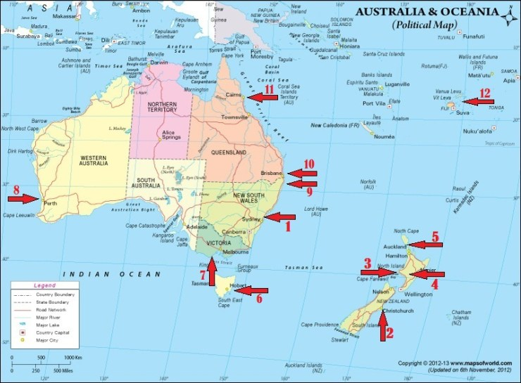 New zealand australia fiji scuba sailing home exchanges australia ocenia political map arrows copyright bignos gumiabroncs Images