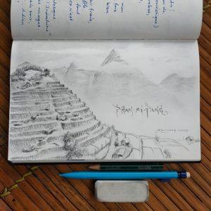 Les rizières au pied du Phan Xi Pāng, toit de l'Indochine (dessin)