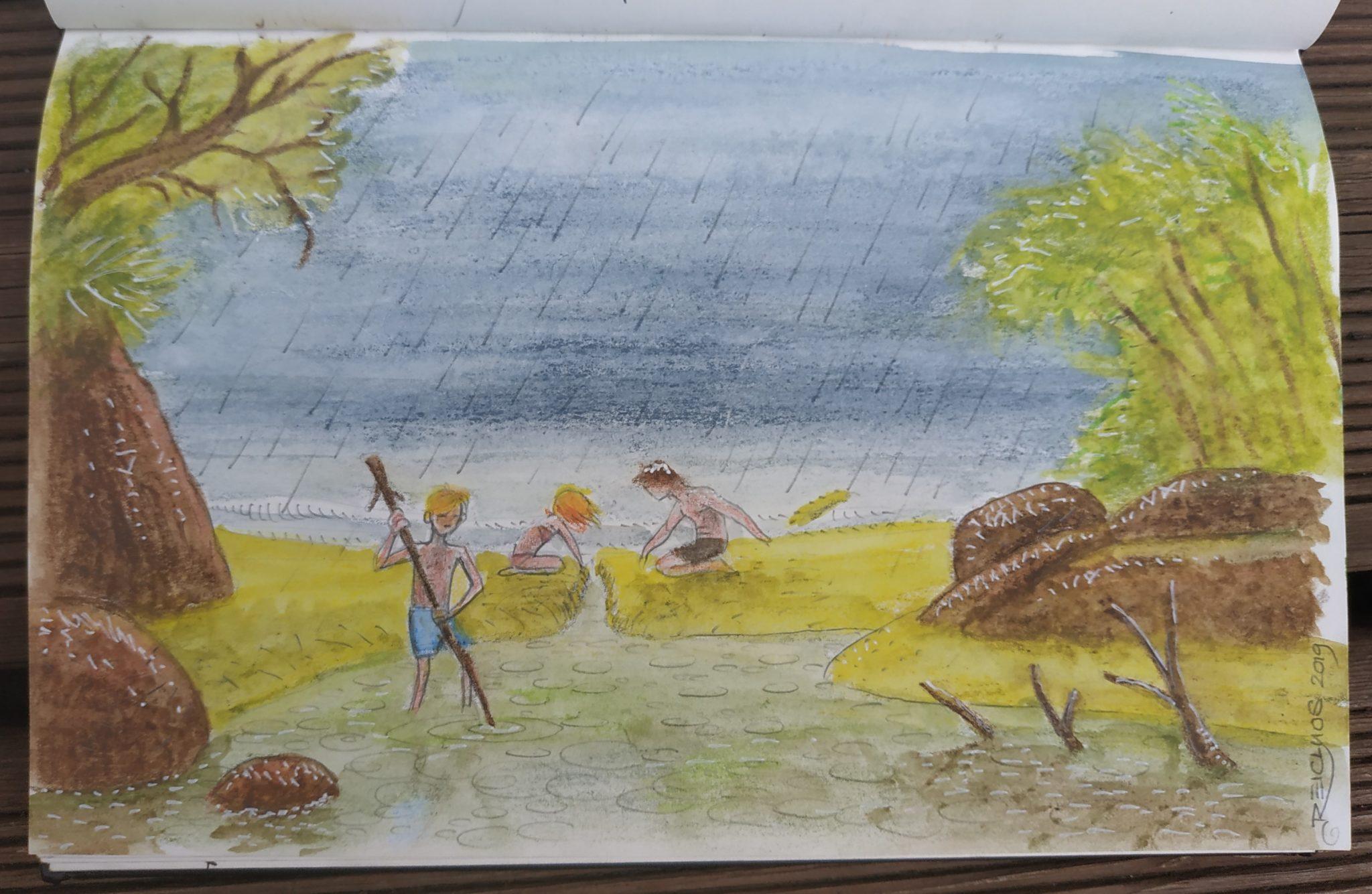 Indonésie - Déluge à Rimba Ecolodge (dessin)