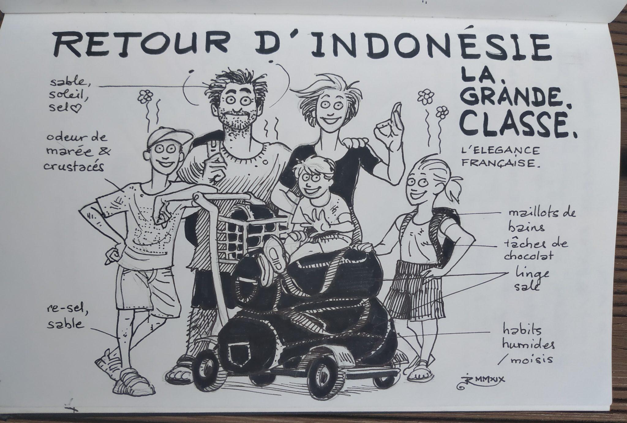 Retour d'Indonésie - la famille craspec (dessin)