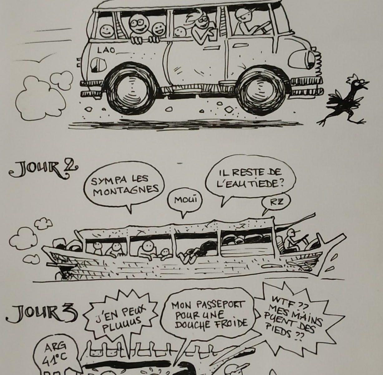 La joie des transferts en bus, bateau, tuktuks... (dessin)
